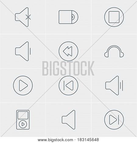 Vector Illustration Of 12 Music Icons. Editable Pack Of Audio, Mp3, Subsequent And Other Elements.