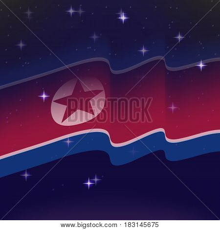 Waving flag of North Korea. Background of the night starry sky. Shining in the colors of the national flag. vector illustration