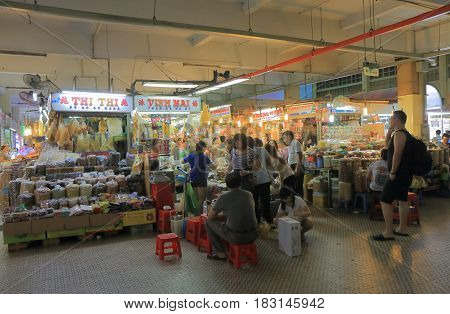 HO CHI MINH CITY VIETNAM - NOVEMBER 27, 2016: Unidentified people visit An Dong market. An Dong market  is one of the most poplar tourist destination.