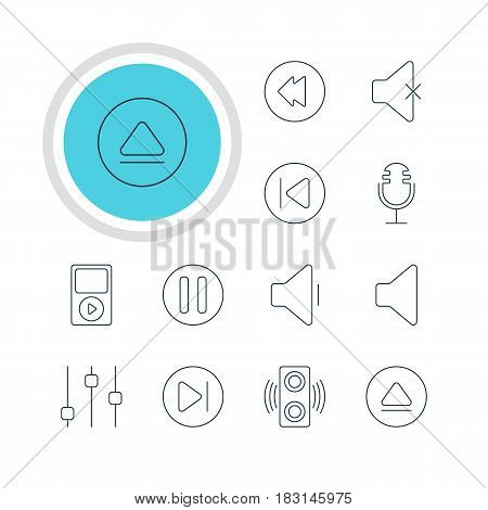 Vector Illustration Of 12 Music Icons. Editable Pack Of Rewind, Lag, Stabilizer And Other Elements.