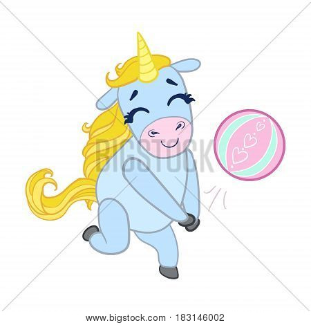 Cartoon light blue unicorn playing with a ball. Colorful vector character isolated on a white background