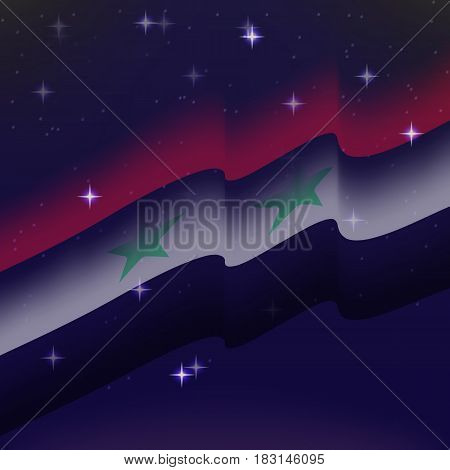 Waving flag of Syria. Background of the night starry sky. Shining in the colors of the national flag. vector illustration