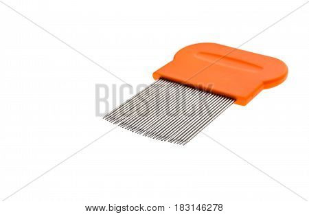 Lice Comb For Home Removing Lice Treatment Isolated On White.
