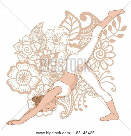 Women silhouette.One legged downward facing dog Yoga Pose. Eka Pada Adho Mukha Svanasa Vector illustration