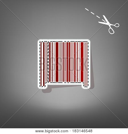Bar code sign. Vector. Red icon with for applique from paper with shadow on gray background with scissors.