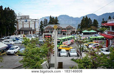 Parking Lot At Alishan Township In Taiwan
