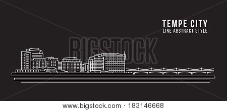 Cityscape Building Line art Vector Illustration design - Tempe city