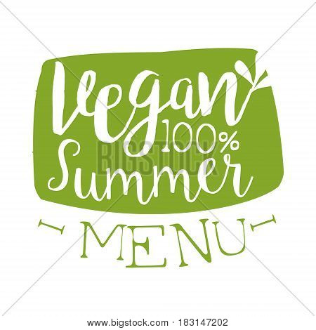 Vegan summer menu green label. Vector illustration for vegetarian restaurant, vegan cafe menu, summer menu, veggie food, restaurant menu, organic shop
