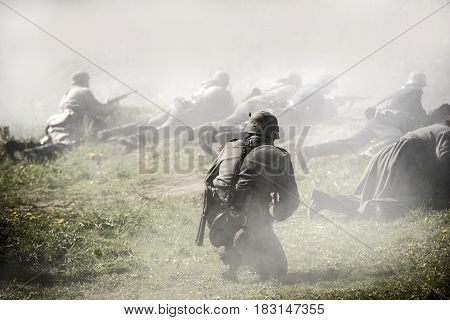 German soldiers. Historical reconstruction soldiers fighting during World War II