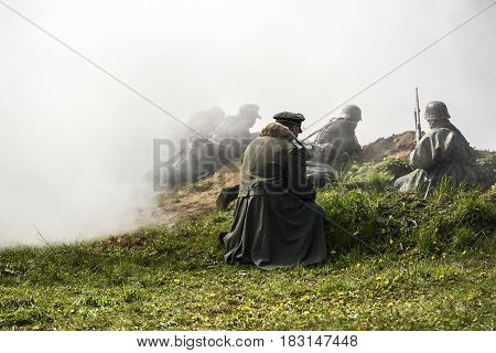 German soldier. Historical reconstruction soldiers fighting during World War II