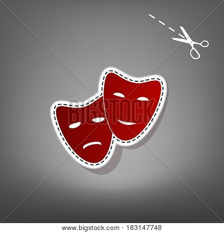 Theater icon with happy and sad masks. Vector. Red icon with for applique from paper with shadow on gray background with scissors.