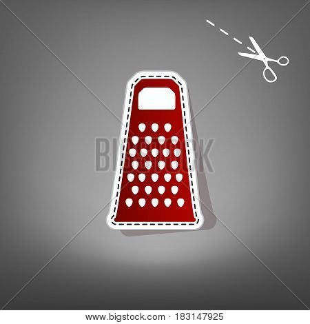 Cheese grater sign. Vector. Red icon with for applique from paper with shadow on gray background with scissors.