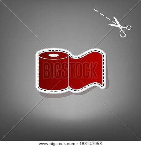 Toilet Paper sign. Vector. Red icon with for applique from paper with shadow on gray background with scissors.