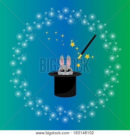 Very high quality original trendy vector illustration of magic hat with bunny or rabbit and wand with sparkles