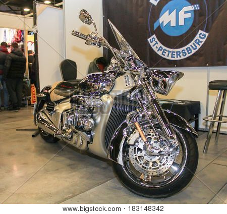 St. Petersburg Russia - 15 April, Brilliant chrome motorcycle,15 April, 2017. International Motor Show IMIS-2017 in Expoforurum. Motorcycles and motoconcepts presented at St. Petersburg Motor Show.
