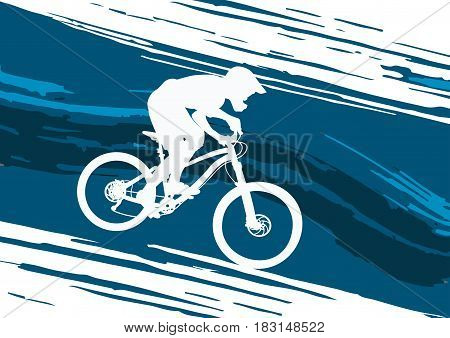 Silhouette of a biker descending on a mountain bike on a - vector illustration