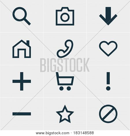 Vector Illustration Of 12 Interface Icons. Editable Pack Of Seek, Access Denied, Mainpage And Other Elements.