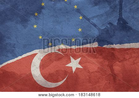 Turkish Flag and European Union Flag painted on old grunge paper