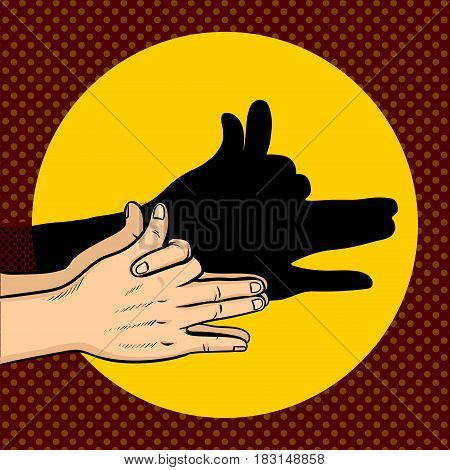 Shadow dog puppet pop art retro vector illustration. Comic book style imitation.