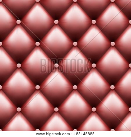Leather upholstery with buttons. Luxury background. Stock vector illustration.