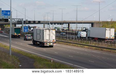Watford UK - April 24 2017: Traffic on the British motorway M1