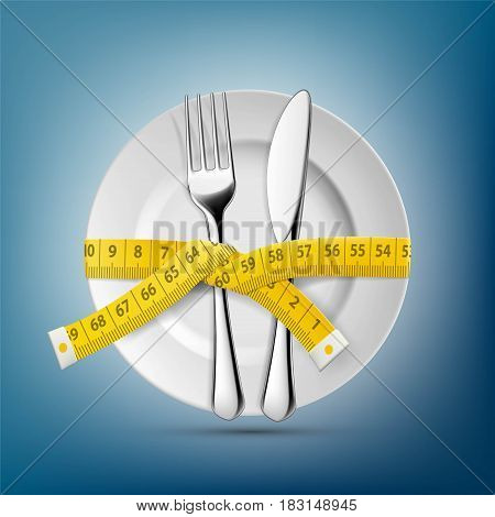 Plate with knife fork and tailoring centimeter. Dieting and weight loss. Stock vector illustration.