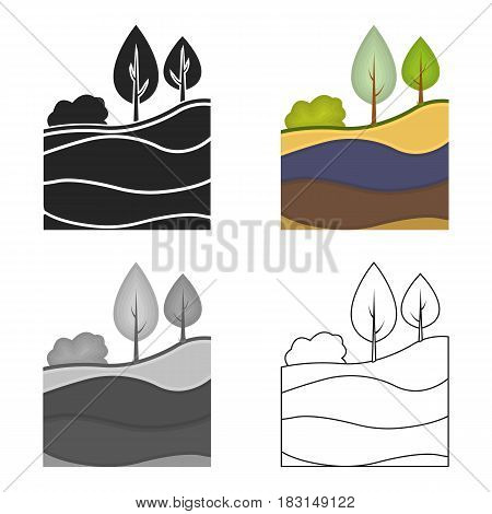 Layers of the earth icon in cartoon style isolated on white background. Mine symbol vector illustration.