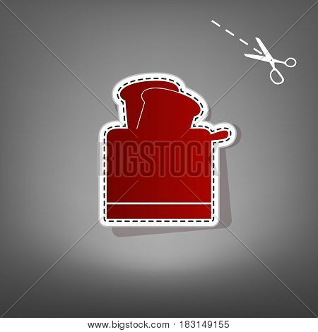 Toaster simple sign. Vector. Red icon with for applique from paper with shadow on gray background with scissors.