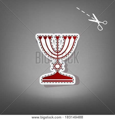 Jewish Menorah candlestick in black silhouette. Vector. Red icon with for applique from paper with shadow on gray background with scissors.
