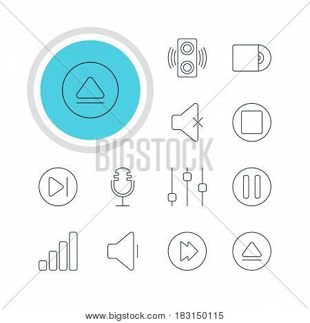 Vector Illustration Of 12 Melody Icons. Editable Pack Of Rewind, Soundless, Pause And Other Elements.