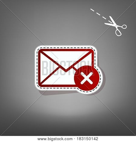 Mail sign illustration with cancel mark. Vector. Red icon with for applique from paper with shadow on gray background with scissors.