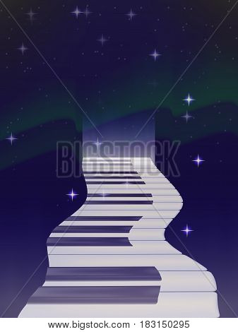 vector winding road of keys from a piano in the background of the Northern lights. bright stars. the night sky