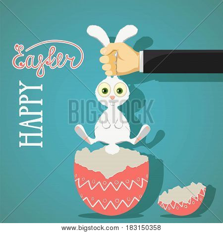 Happy Easter greeting card with bunny and egg. Stock vector illustration.