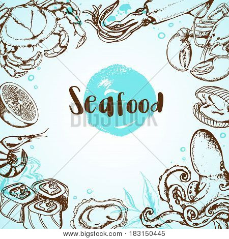 Vintage seafood menu background with octopus crab shrimp and sushi