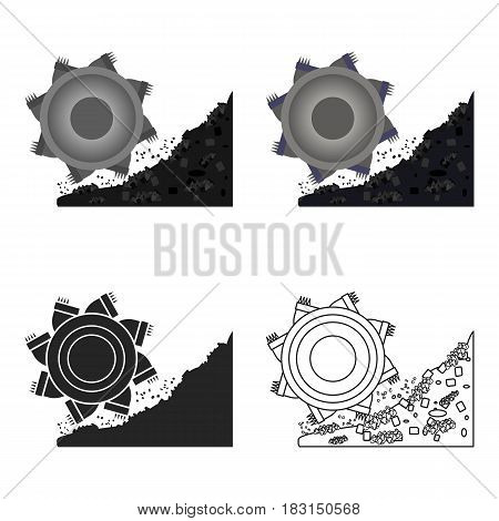 Bucket-wheel excavator icon in cartoon style isolated on white background. Mine symbol vector illustration.