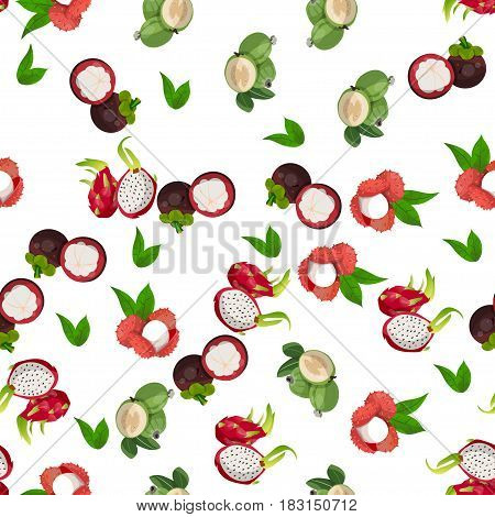 Very high quality original trendy vector seamless pattern with pitaya, mangosteen, feijoa, dragon fruit, exotic tropical fruit