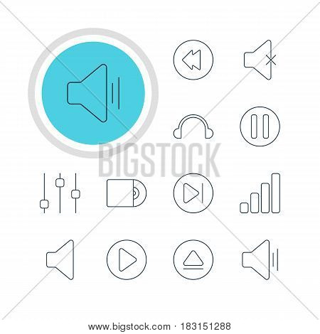 Vector Illustration Of 12 Music Icons. Editable Pack Of Subsequent, Reversing, Audio And Other Elements.