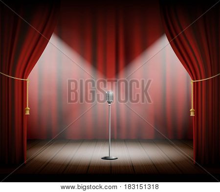 Microphone stands on stage with a red curtain. Stock vector illustration.