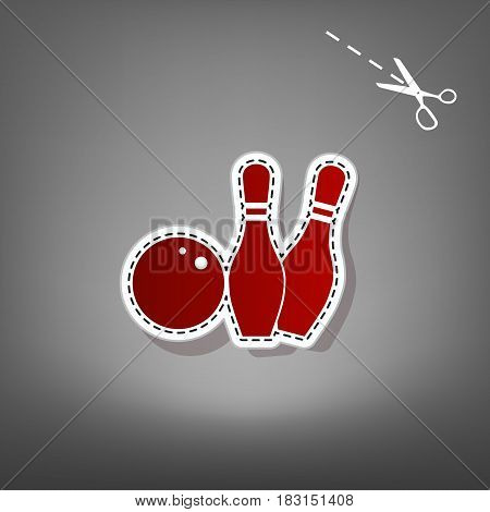 Bowling sign illustration. Vector. Red icon with for applique from paper with shadow on gray background with scissors.