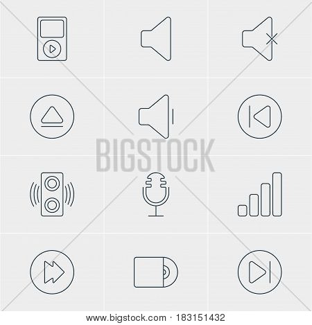 Vector Illustration Of 12 Melody Icons. Editable Pack Of Preceding, Mike, Advanced And Other Elements.