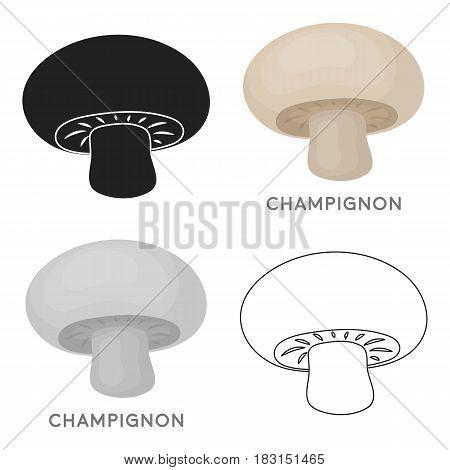Champignon icon in cartoon style isolated on white background. Mushroom symbol vector illustration.