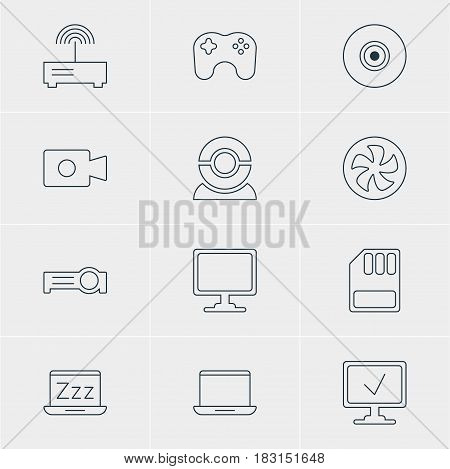 Vector Illustration Of 12 Notebook Icons. Editable Pack Of Presentation, Cooler, Online Computer And Other Elements.