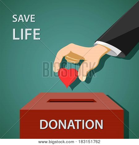 Man puts a red heart in to donation box. Charity and philanthropy. Stock vector illustration.
