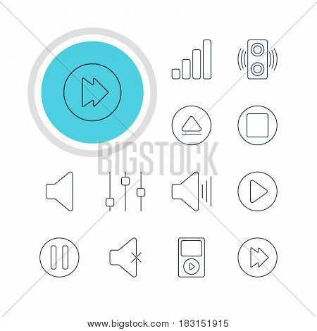 Vector Illustration Of 12 Melody Icons. Editable Pack Of Advanced, Soundless, Pause And Other Elements.