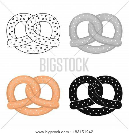 Pretzel icon in cartoon style isolated on white background. Oktoberfest symbol vector illustration.