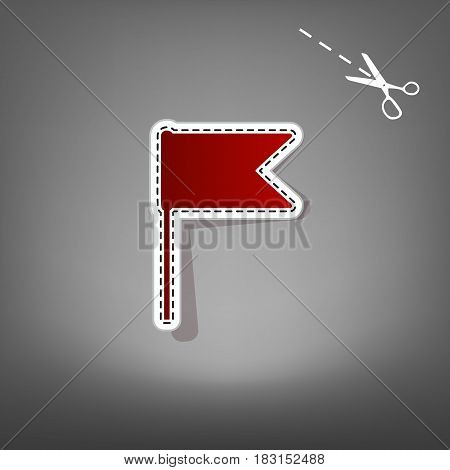 Flag sign illustration. Vector. Red icon with for applique from paper with shadow on gray background with scissors.