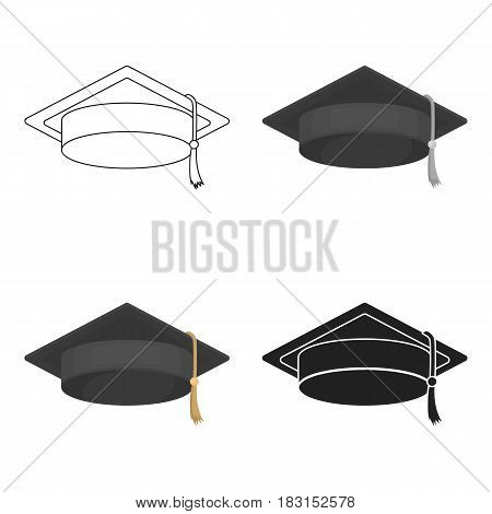 Graduation cap icon in cartoon style isolated on white background. Hats symbol vector illustration.