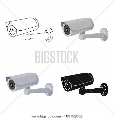 Security camera icon in cartoon design isolated on white background. Parking zone symbol stock vector illustration.