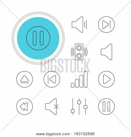 Vector Illustration Of 12 Melody Icons. Editable Pack Of Reversing, Preceding, Start And Other Elements.