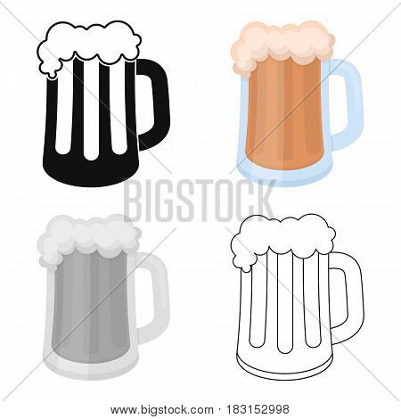 Beer mug icon in cartoon style isolated on white background. Oktoberfest symbol vector illustration.